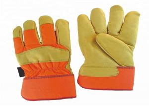 China Wear Resistant Leather Safety Work Gloves Elastic Closure Sewn Inside on sale