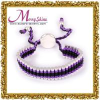 OEM design purple links friendship bracelets of copper with thick silver plating LS001