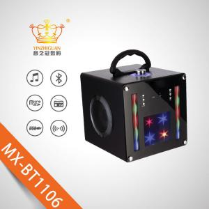 China Full screen Wooden portable karaoke bluetooth speaker with colorful LED lights red/blue/black three colors aviliable on sale