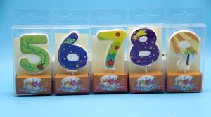 China Lovely 0-9 Number Birthday Candles Set With Glitter Decoration Smokeless on sale