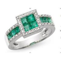 Ring(10K White Gold Ring Emerald and Diamond)