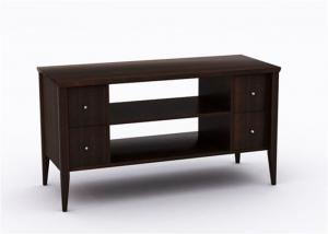 China Walnut Wood Large Tv Stand Furniture , Hotel Bedroom Dark Wooden Tv Cabinet on sale