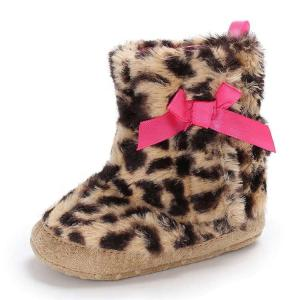 China China Factory Leopard print Winter snow warm Newborn shoes Toddler baby booties on sale