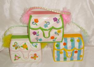China Colorful Ceramic Purse Bank / Saving Bank For Girl And Lady Earthenware on sale