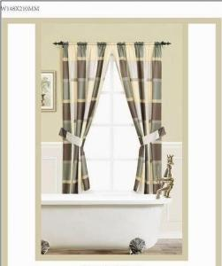 China Door Window Panel Curtains With Valance , Burgundy / Green Window Curtains on sale