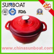 China 熱い販売の赤い色の鋳鉄の調理器具の大容量のエナメルのダッチ オーブン on sale