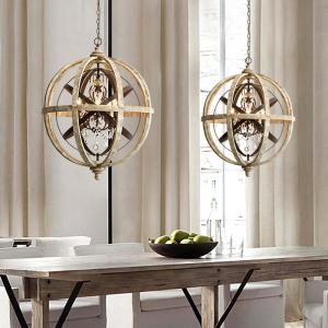 China Rustic Iron and Wood Global Shape crystal chandelier (WH-CI-85) on sale