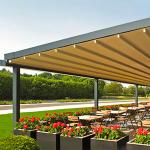 Waterproof PVC Retractable Patio Awning With Led Lights Gazebo