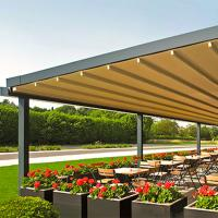 China Waterproof PVC Retractable Patio Awning With Led Lights Gazebo on sale