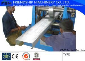 China rolo do Purlin de 80mm-350mm C Z que forma a maquinaria com espessura automática 1.5-3.0mm dos furos de perfuração on sale