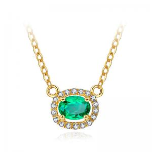 China Gold Emerald Pendant Necklace , Emerald Fashion Necklace With Micro Pave Diamond on sale