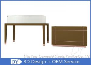 Quality Simple Matte Brown Glass Display Cabinets With Lights For Jewelry  Shop For Sale