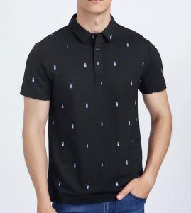 China Black Bamboo Cotton Tee Shirts , Custom Printing Golf Polo T Shirts With Pattern on sale