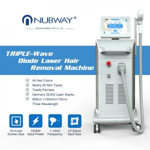 China newest 3 in 1 triple wavelength painless 808 755 1064 diode laser hair removal for all skin type on sale