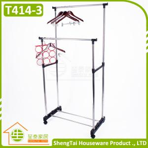 China Multi Function Stainless Steel Garment Storage Cloth Drying Shelf With Wheels on sale