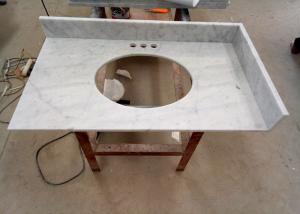 China 22 Inch Prefab Vanity Tops / White Carrera Marble Countertops Durable For Home on sale