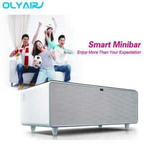 China Multi function integrated with touch control panel and LED lighting smart table fridge on sale