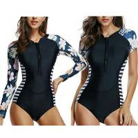 China Women Floral Stripe Swimwear Rash Guard Swimsuit Long Sleeve Bikini Bathing Suit on sale