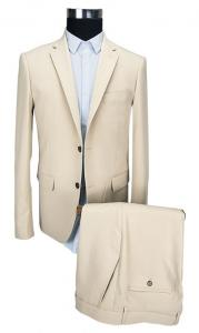 China Formal Beige Mens 2 Piece Suit Wedding Business Long Clothing Length on sale