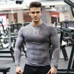 Muscle Slim Fit Mens Long Sleeve Sports Top Summer Running Wear Function