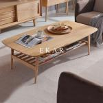 Oval Coffee Table 4 Legs Solid Wood Egyptian Style Living Room Furniture