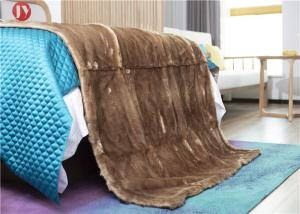 China Warm Coffee Faux Fur Blanket Throw Rabbit Micro Mink Back For Couch Bed on sale