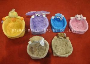 China Colorful Crochet Storage Basket With Plush Animals Handles , Crochet Easter Basket on sale
