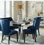 6 Person Modern Mirrored Dining Table Furniture Strong Wooden Struture