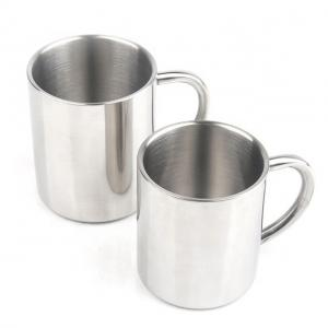 China 2pcs of Food grade anti-scald coffee double wall cup stainless steel mug with handle on sale