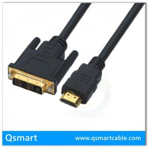 China QS6001,QSMART  Gold plated 1080p resolution OFC Conductor with High-density braiding HDMI to DVI-D Digital Video Cable on sale