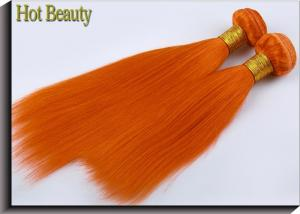 China Customized Orange Silk Straight Virgin Human Hair Extensions Double Stitch Weft on sale