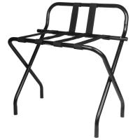 China Back Rest Hotel Style Luggage Rack / Black Hotel Luggage Stand With Feet on sale
