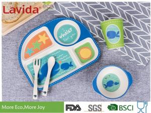 China Eco Bamboo Childrens Dinner Set 4 Sections Plate Glass Fork / Spoon Shatter Proof supplier