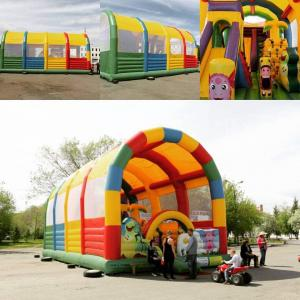 China Palyground Pring Customized Obstacle Sports Nylon Inflatable Jumping Bouncy Castle with Slide for kids on sale