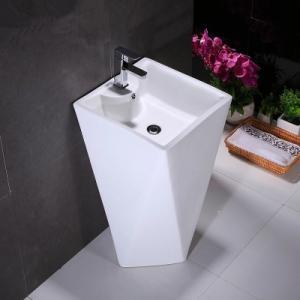 China Sanitary ware bathroom diamond shape ceramic big standing pedestal basin for sale on sale