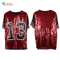 Red Black Plus Size Party Womens Sequin Clothing Round Neck Elbow Sleeve