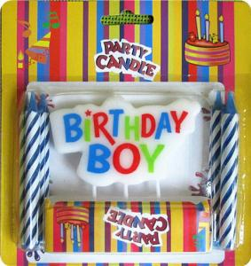China Dripless Printing Letter Birthday Candles Blue Spiral Wax For Boy Theme Party on sale