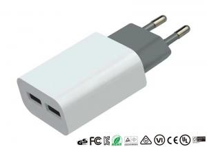 China EU Plug Mobile Phone Wall Charger Dual USB Ports Private Mold 5V 2.4A on sale