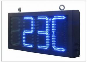 China Double Sides Blue LED Gas Station Sign IR 10M RF 100M with Poosled Time Temperature System on sale