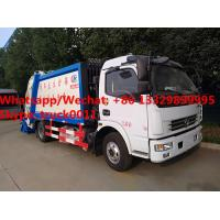 Factory customzied dongfeng LHD diesel 7m3 garbage compactor vehicle with rear overturning wastes hopper for sale,