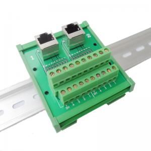 China RJ45 Jack Dual Connectors to Screw Terminal Block Wiring Breakout Board Adapter Din Rail on sale