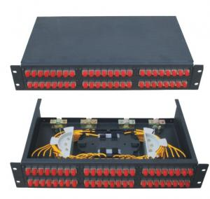 China 19 inch size Fixed type Rack-mount ODF Fiber Optic Patch Panel in black color cold-rolling steel sheet on sale