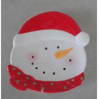China Kids Ceramic Christmas Gift Hand Painted Christmas Plates , Santa Claus Snowman Design on sale