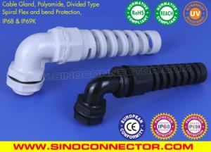 China 90° Elbow (Right Angle) IP68 Cable Glands with Spiral Flex & Bend Protection on sale