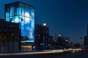 China Transparent Glass Led Tv Display Screen Panel Transparent Glass Advertising billboard on sale