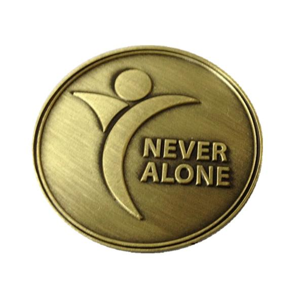 Custom made metal brass plated commemorative coins, less expensive