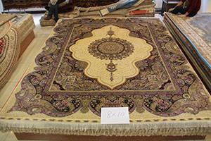 China wash Double Knots silk & silk carpets , 300-line silk carpet on sale