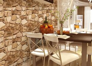 China 3D Effect Stone Pattern Washable Vinyl Wallpaper With Foam Process Natural Style on sale