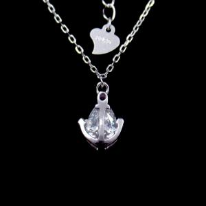 China Fashionable Sterling Silver Jewellery Anchor Sailor Mariner One Water Droplets Zircon Necklace on sale