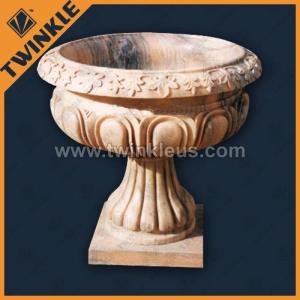 China Stone Flower Pots For Decoration Stone Marble Outdoor Plant Pot With Hand Carving on sale